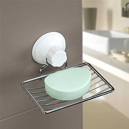 Strong Suction Bathroom Shower Chrome Accessory Soap Tray...