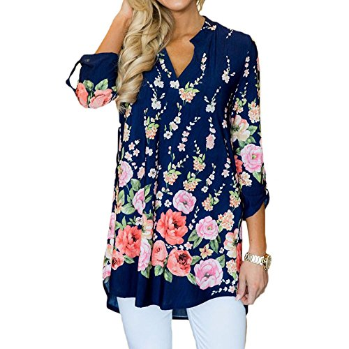 Jessica Floral Blouse - Jessica CC Women's Paisley Print Slight V Neck Tunic 3/4 Sleeve Blouse Shirt Tops