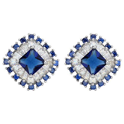 [EleQueen 925 Sterling Silver Prong Full Cubic Zirconia Art Deco Dazzling Bridal Halo Stud Earrings Sapphire] (Full Halo Costumes)