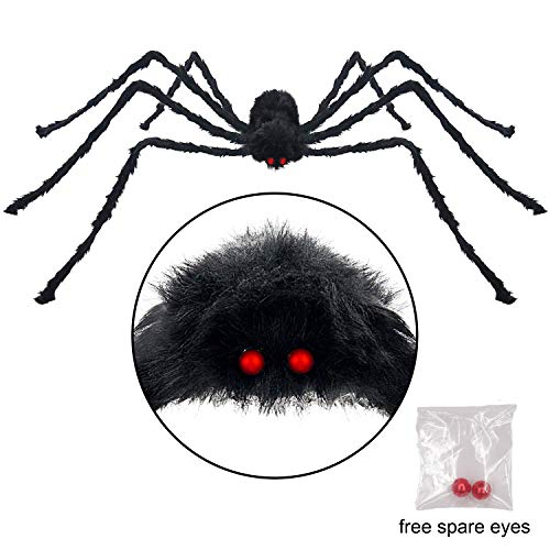Pawliss Halloween Yard Decorations, 6.6 feet 200cm Giant Scary Spider Outdoor Decor, Fake Large Hairy Spider Props]()