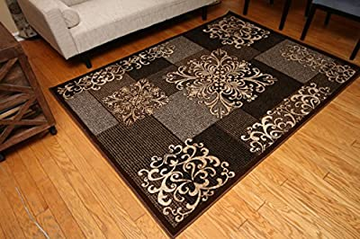 New City Contemporary Brown Beige Modern Flowers Squares Wool Area Rug 4031
