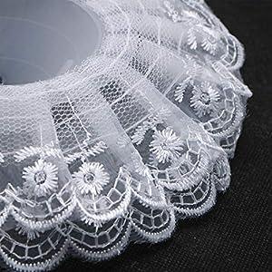 JETEHO Pack of 10 Lace Bouquet Collar,Lace Collar Bouquet Holder Wedding Bridal Bouquet Collar White Lace Decoration Bouquet Holder 5
