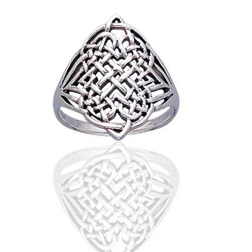 Large Intricate Four Point Celtic Eternity Knot Sterling Silver Ring Size 9(Sizes 3,4,5,6,7,8,9,10,11,12,13,14,15)