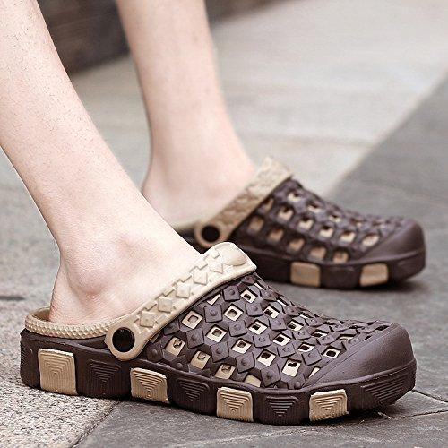 Xing Lin Flip Flop De La Playa Verano Hombres Zapatillas De Uso Doble Cabezal Semi-Remolque Sandalias Cool Agujero Antideslizante Shoes Sandalias Casual Masculino Arrastre 2015 brown
