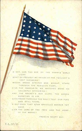 Star Spangled Banner with Flag Patriotic Original Vintage Postcard