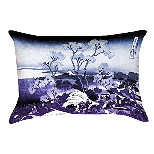 ArtVerse Katsushika Hokusai Mt. Fuji and Cherry Blossoms Blue and Purple Pillow, 14