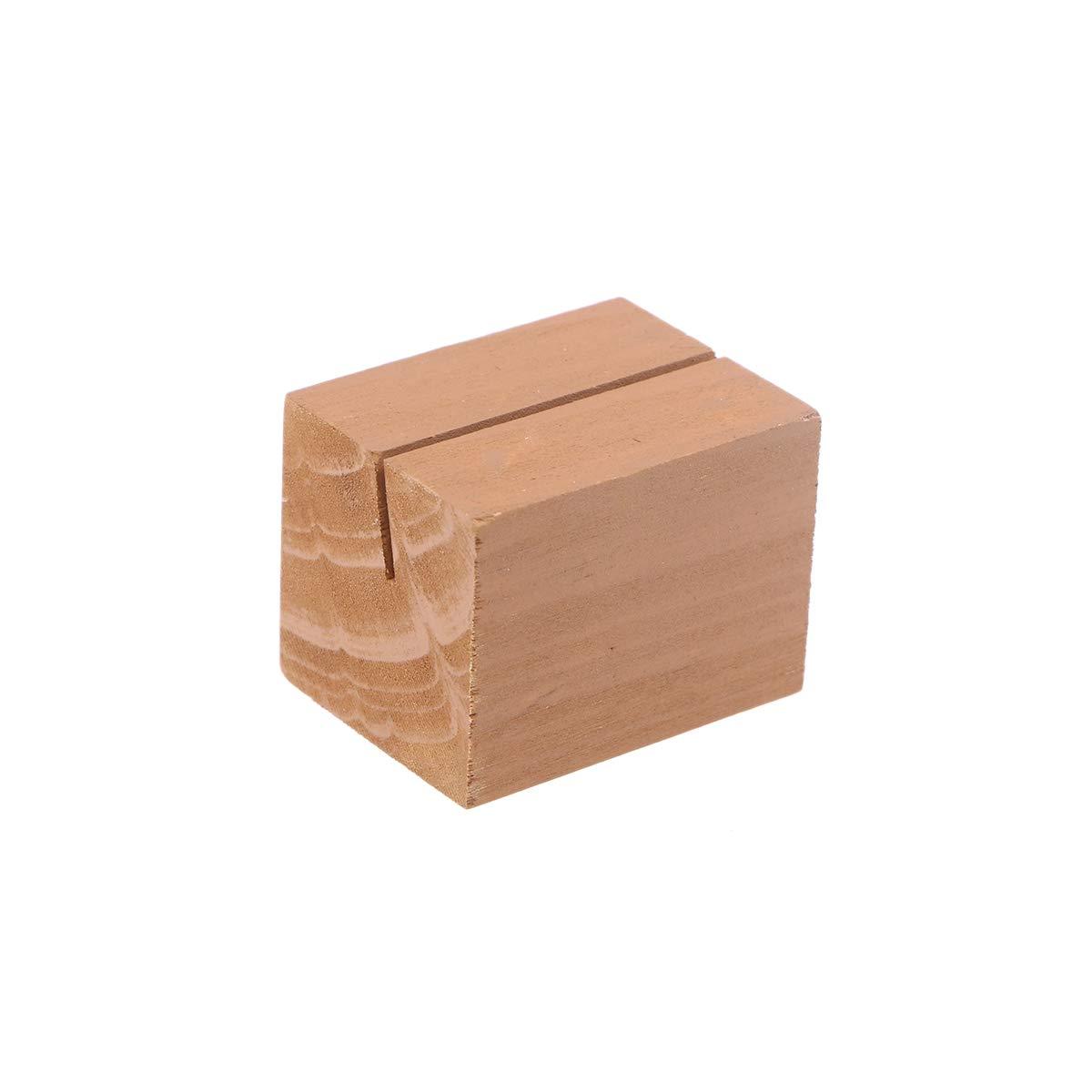 Healifty Tarjeteros de madera lugar de mesa de posici/ón de ranura rectangular de madera natural r/ústico