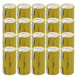 20x Exell D Size 1.2V 5000mAh NiCD Rechargeable Batteries with Tabs for medical instruments/equipment, electric razors, toothbrushes, radio controlled devices, electric tools