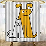 lacencn Cartoon,Shower Curtains Digital Printing,Cats and Dogs Human Best Friends Forever Kids Nursery