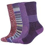 EnerWear 4 Pack Women's Merino Wool Outdoor Hiking Trail Crew Sock (US Shoe Size 4-10½, Purple/Purple Stripe/Wine/Multi)