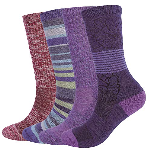 EnerWear 4 Pack Women's Merino Wool Outdoor Hiking Trail Crew Sock (US Shoe Size 4-10½, Purple/Purple Stripe/Wine/Multi) (Wool Socks Thin)