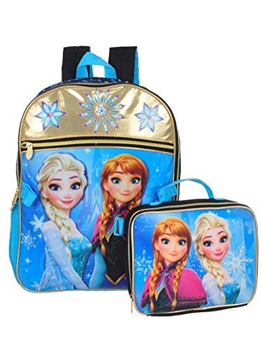 Disney Girls' Frozen Black/Gold Backpack with Lunch Kit, Blue, One Size