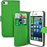 Apple Iphone 5 Green PU Leather Wallet Skin Case Cover - LCD Screen Protector - Green Mini Stylus Pen - GB Online Sales - Free UK Delivery