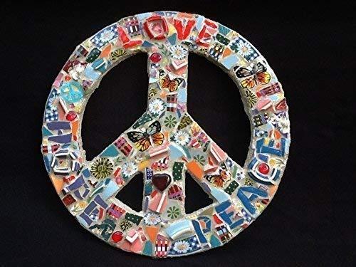Peace Sign LOVE PEACE HOPE Wall Décor Butterfly Flowers Heart (Wall Art Butterfly Mosaic)