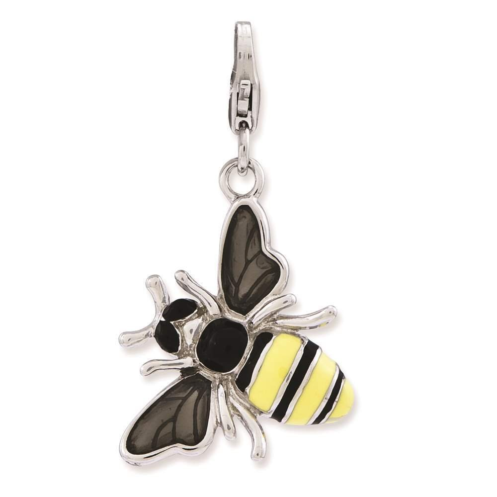 925 Sterling Silver Enameled 3-D Yellow Jacket w/ Lobster Clasp Charm - Amore La Vita Collection