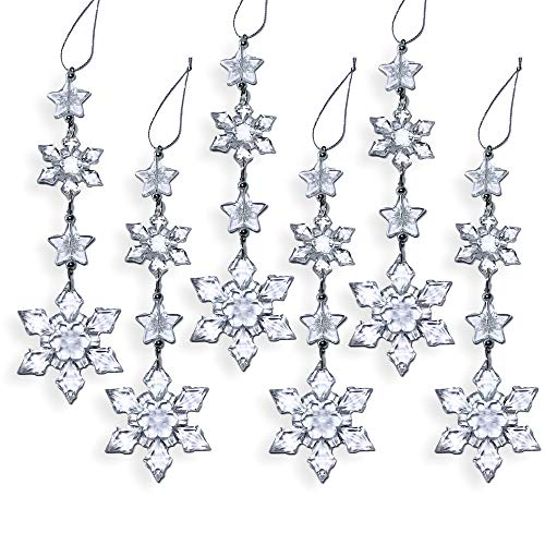 BANBERRY DESIGNS Snowflake Christmas Ornaments - Set of 6 Clear Acrylic Snowflake Strands - Snowflake Drop Ornaments