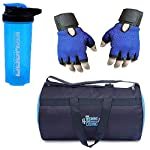 Allied Sales SG-2011 Blue Polyster Gym Bag, Cyclone Protein Shaker and Gym Gloves with Wrist Support Comboss