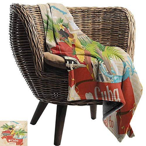 vanfan-home Havana Baby Blanket,Cuban Culture and Attractions Concept Smiling Local Lady on Classic Car Among Palms Super Soft Light Weight Cozy Warm Plush Hypoallergenic Blanket (50