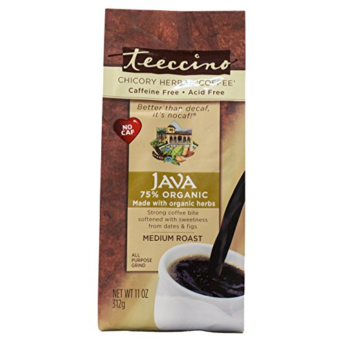 Herbal Coffee Java (Teeccino Java Chicory Herbal Coffee Alternative, Caffeine Free, Acid Free, Coffee Substitute, Prebiotic, 11 Ounce)