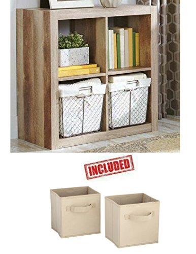 Better Homes and Gardens Bookshelf Square Storage Cabinet 4-Cube Organizer in Weathered Finish Bundle Set by Better Homes & Gardens