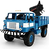 Ruhiku GW Racing Truck, WPL B-24 1:16 4WD RC Military Truck Wireless Remote Control Brushed Monster Car Toy (Blue)