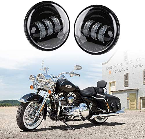 Xprite Black 4.5 Inch 60W Cree Led Spot Lights 2700k Amber Passing Projector Fog Lamp for Harley Davidson Daymaker Motorcycles