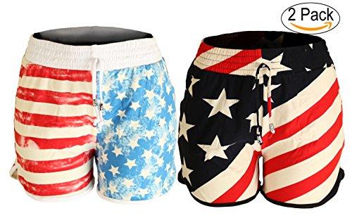 Aracci US Women's Summer Casual American Flag Shorts 2 Pack - F240F241, L/XL