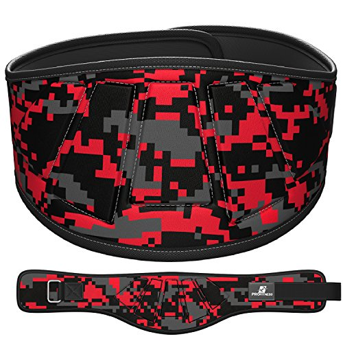 Profitness Neoprene Weight Lifting Belt 6  Back Support  Perfect For Cross Training  Olympic Lifting  For Men And Women  Red Camo  X Large  39    43  Around Waist