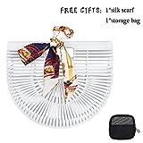 Bamboo Handbag Straw Purse Clutch Bags Handmade Tote Beach Handbags for Women (Bamboo Small White)