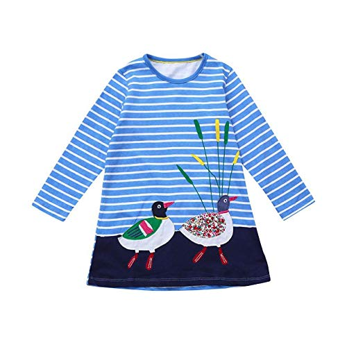 Toddler Baby Girl Kid Autumn Clothes Duck/Hedgehog/Horse Print Embroidery Princess Party Dress Children's Costumes Girl Long-Sleeved Skirt Girl Outfit Sweet Baby Princess Dress (4T, Sky Blue) -