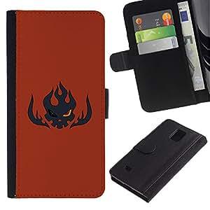 """A-type (Flaming Skull"""") Colorida Impresión Funda Cuero Monedero Caja Bolsa Cubierta Caja Piel Card Slots Para Samsung Galaxy Note 4 IV"""