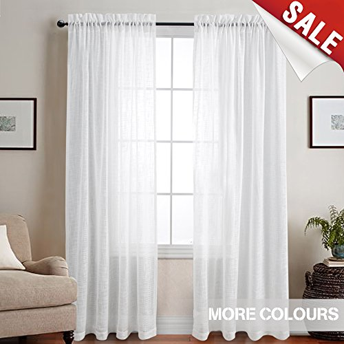 Linen Textured Sheer Window Curtains for Bedroom White Curtain for Living Room 84 inch Length Rod Pocket Curtain Panels 1 Pair (Length Cross)