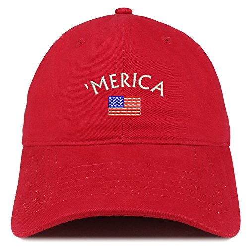 Red Brushed Cotton Cap (Trendy Apparel Shop Merica Small American Flag Embroidered Dad Hat Cotton Baseball Cap - Red)