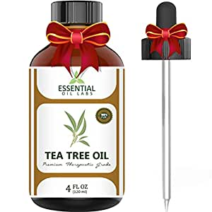Essential Oil Labs Natural Therapeutic Grade Tea Tree Oil with Glass Dropper, 4 Ounce