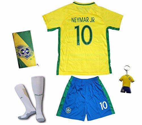 2018 FWC Brazil #10 NEYMAR JR. Kids Home Soccer Jersey & Shorts Socks Set Youth Sizes (5-6 YEARS)