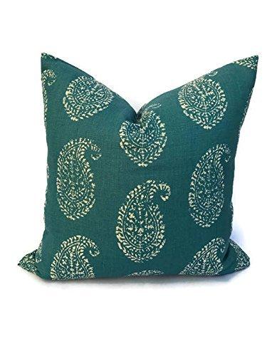 Peter Dunham Textiles Kashmir Paisley Pillow In Tea Peacock, Throw Pillows, Sofa  Pillows,