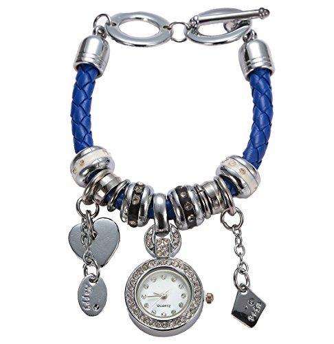 Soulvin Women Retro Love Heart Pendant Charm Rhinestones Weave Belt Bracelet Watch Blue by Soulvin