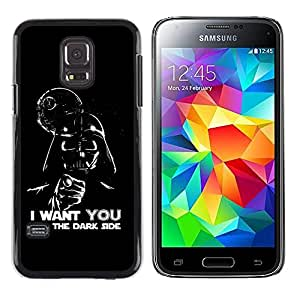 QCASE / Samsung Galaxy S5 Mini, SM-G800, NOT S5 REGULAR! / dark side quote angel devil art villain alien / Slim Black Plastic Case Cover Shell Armor