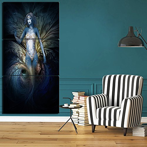Blue Lady Painting - Extra Large Woman with Body Jewels Paintings on Canvas Blue Background Wall Art ,Giclee Artwork Posters Prints Pictures Framed Home Decor for Living Room 3 Piece Stretched Ready to Hang(28''Wx60''H)