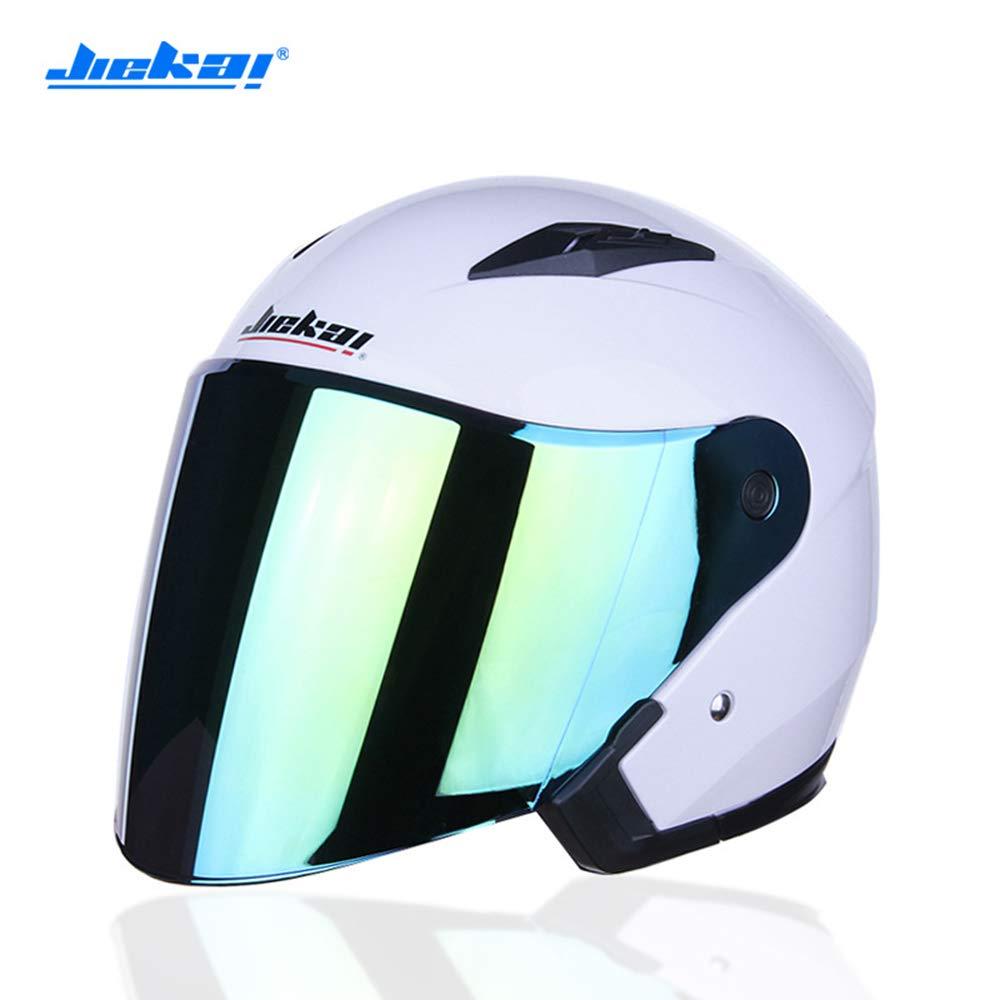 CXL Open-Top-Helm Vier Jahreszeiten weiblicher Akku-Elektroauto-Doppel-Objektiv-Helm,Weiß,XL
