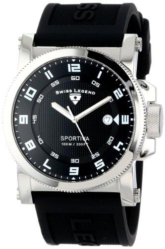 Swiss Legend Men's 40030-01-WA Sportiva Black Textured Dial Black Silicone Watch