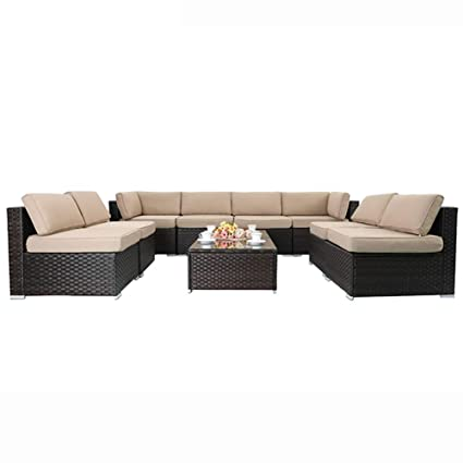 Magnificent Phi Villa Outdoor Rattan Sectional Sofa Patio Wicker Furniture Set 10 Piece Beige Onthecornerstone Fun Painted Chair Ideas Images Onthecornerstoneorg