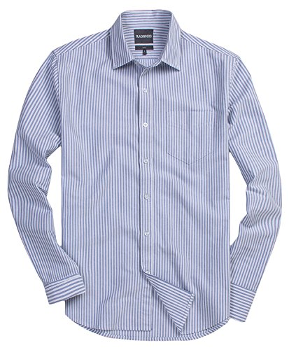 blackmogoo Mens Casual Slim-Fit Striped Button Down Shirts Long Sleeve Button Up Dress Shirts,Blue (Blue Striped Oxford Shirt)
