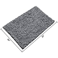 INCX Absorbent Bath Mat for Bathroom Machine Washable,Non-Slip Bathroom Rug,Chenille Doormat 25x15