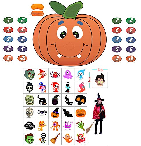 Halloween Party Games Pin The Nose on The Pumpkin Game with Halloween Tattoos for Kids Halloween Costume Party Favors Decorations (A:Pin The Nose on The Pumpkin