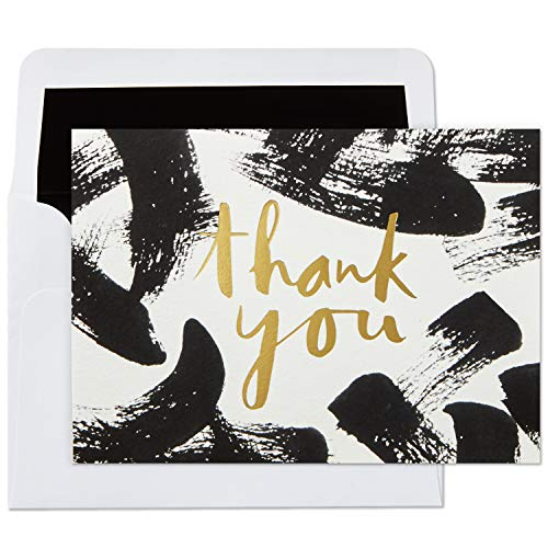(Hallmark Thank You Cards, Black Brushstrokes (10 Cards with)