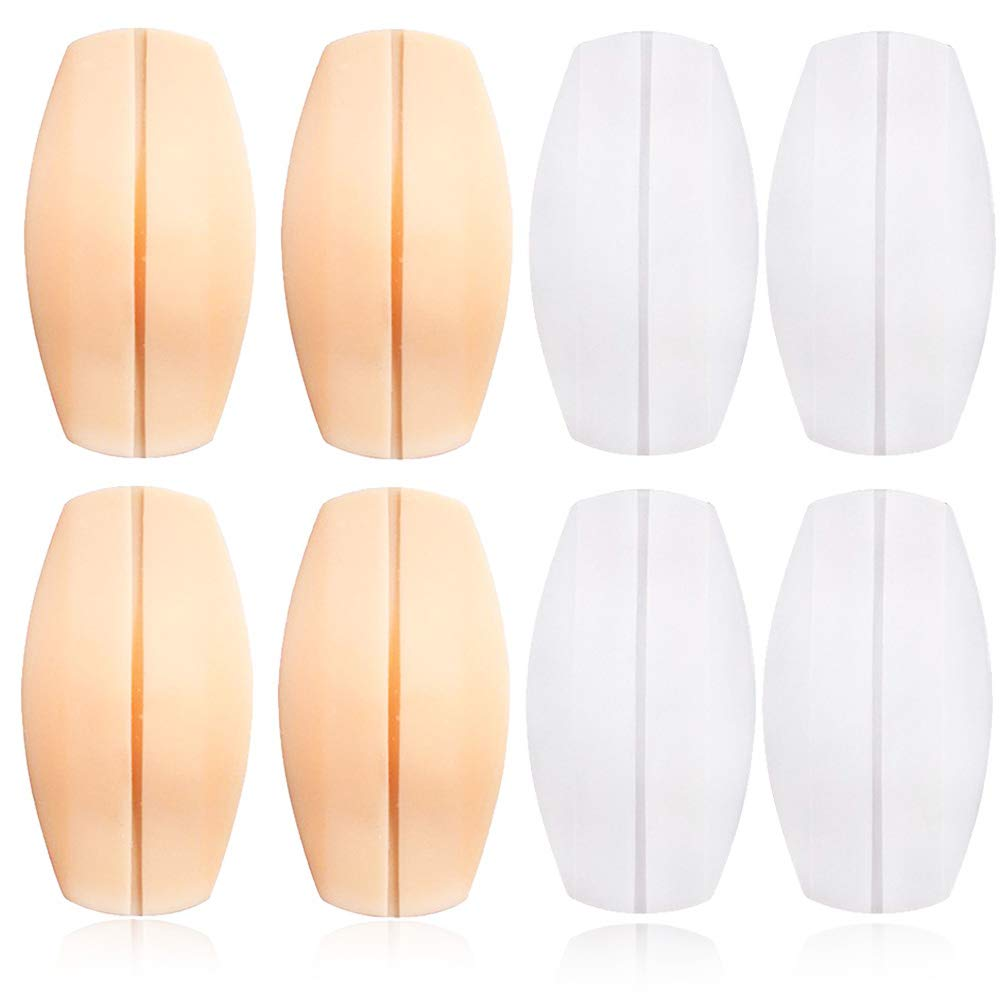 8 Pieces Bra Strap Cushions Women's Soft Silicone Bra Strap Pad Holder Non-slip Relief Pain Shoulder Pads Comfort Protectors - 2 Color, White, Beige