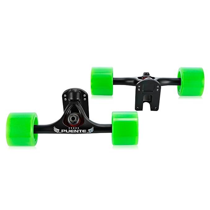Paquete de 2 ejes de monopatín con ruedas, para monopatines tipo cruising o longboard, verde: Amazon.es: Deportes y aire libre