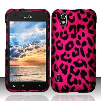 Pink Leopard Hard Faceplate Cover Phone Case for LG Marquee LS855 / Optimus Black P970 / Ignite AS855 (Lg Case P970 Optimus)