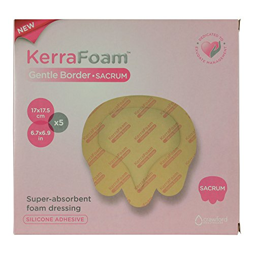 KerraFoam Small Sacral Gentle Border Foam Dressing for Wound Care (CWL1023) - Aids Wound Healing by Absorbing and retaining Drainage While Being Gentle on The Surrounding Skin. (Box of 5)